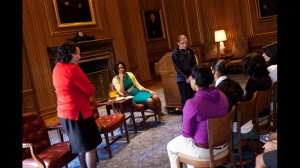 First Lady Michelle Obama watches as Justices Sonia Sotomayor and Ruth Bader Ginsburg mentor young women at the Supreme Court